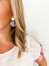 Load image into Gallery viewer, Striped Acrylic Circle Earrings | Rainbow - Wondermint Goods