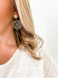 Dot Clear Acrylic Hexagon Earrings - Wondermint Goods