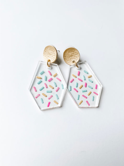 Confetti Clear Acrylic Geometric Earrings | Sprinkle - Wondermint Goods