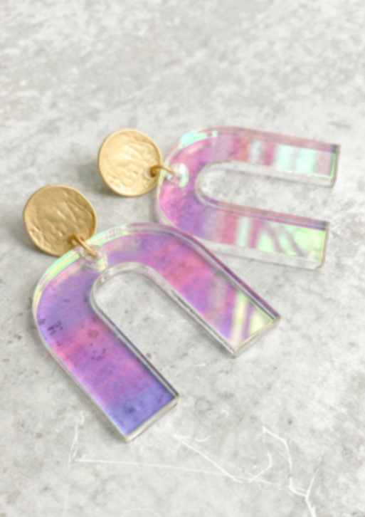 Iridescent Geometric U-Shape Acrylic Earrings
