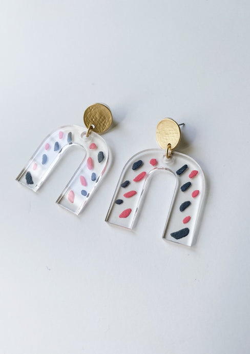 Pink and Navy Geometric U-Shape Clear Acrylic Earrings - Wondermint Goods