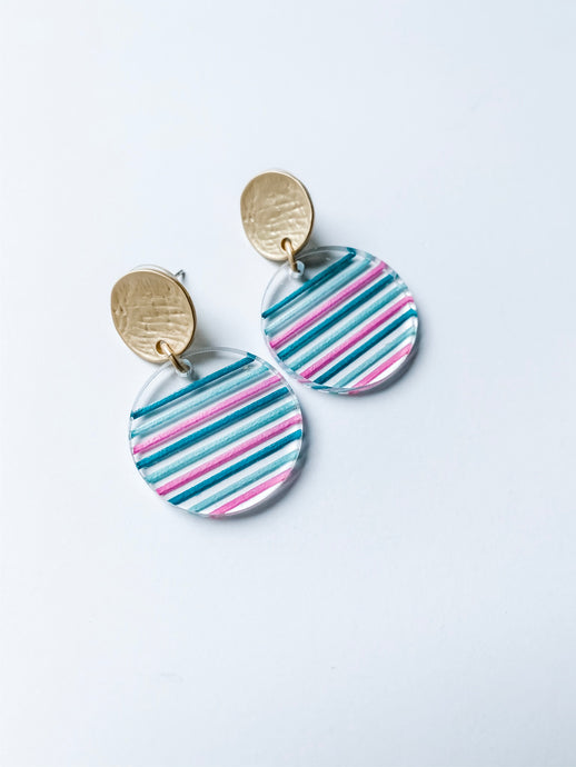 Striped Acrylic Circle Earrings | Tri-Color - Wondermint Goods