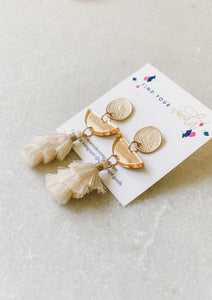 Gold Mirrored Acrylic Half Circle Tassel Earrings - Wondermint Goods