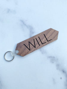 Custom Engraved Wood Keychain