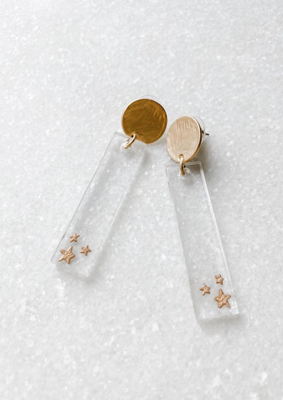 Clear Acrylic Star Bar Earrings - Wondermint Goods