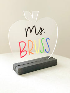 Acrylic Apple Teacher Name Desk Sign