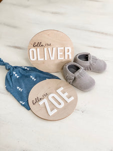 Birth Announcement Round Wood Sign - Wondermint Goods
