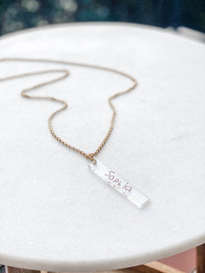Handwritten Personalized Acrylic Bar Necklace - Wondermint Goods