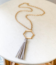 Load image into Gallery viewer, Gold Mirrored Acrylic Hexagon Chain Tassel Necklace - Grey - Wondermint Goods