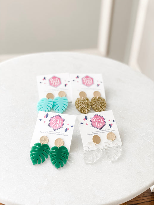 Monstera Leaf Acrylic Earrings - Wondermint Goods