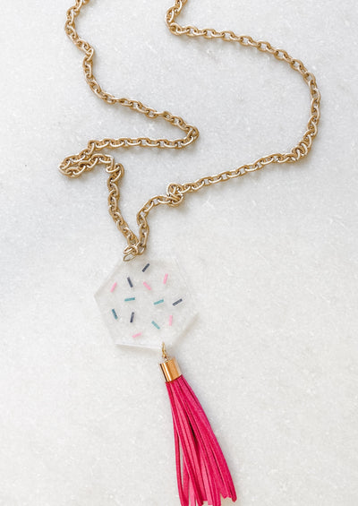 Confetti Hexagon Chain Tassel Necklace - Wondermint Goods