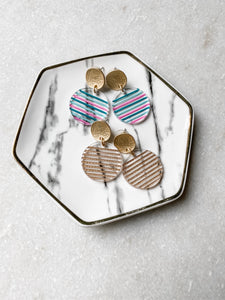 Striped Acrylic Circle Earrings | Gold - Wondermint Goods