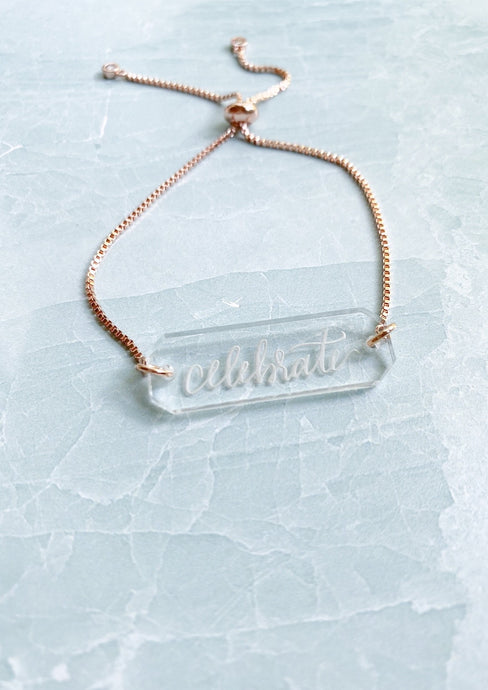 Inspirational Acrylic Bar Chain Bracelet