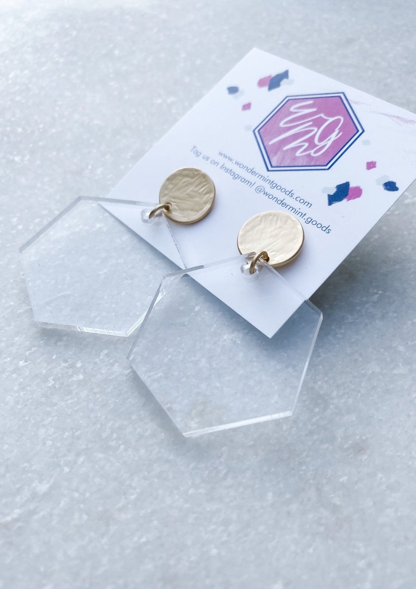 Hexagon Clear Acrylic Earrings - Wondermint Goods