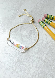 Teacher Name Acrylic Bar Chain Bracelet - Rainbow Lettering