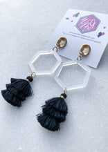 Load image into Gallery viewer, Hexagon Clear Acrylic Tassel Earrings - Wondermint Goods