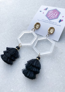 Hexagon Clear Acrylic Tassel Earrings - Wondermint Goods