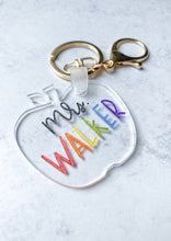 Load image into Gallery viewer, Teacher Name Acrylic Apple Keychain