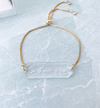 Load image into Gallery viewer, Handwritten Words Acrylic Bar Chain Bracelet