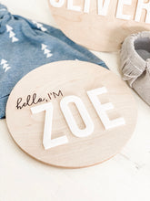 Load image into Gallery viewer, Birth Announcement Round Wood Sign - Wondermint Goods