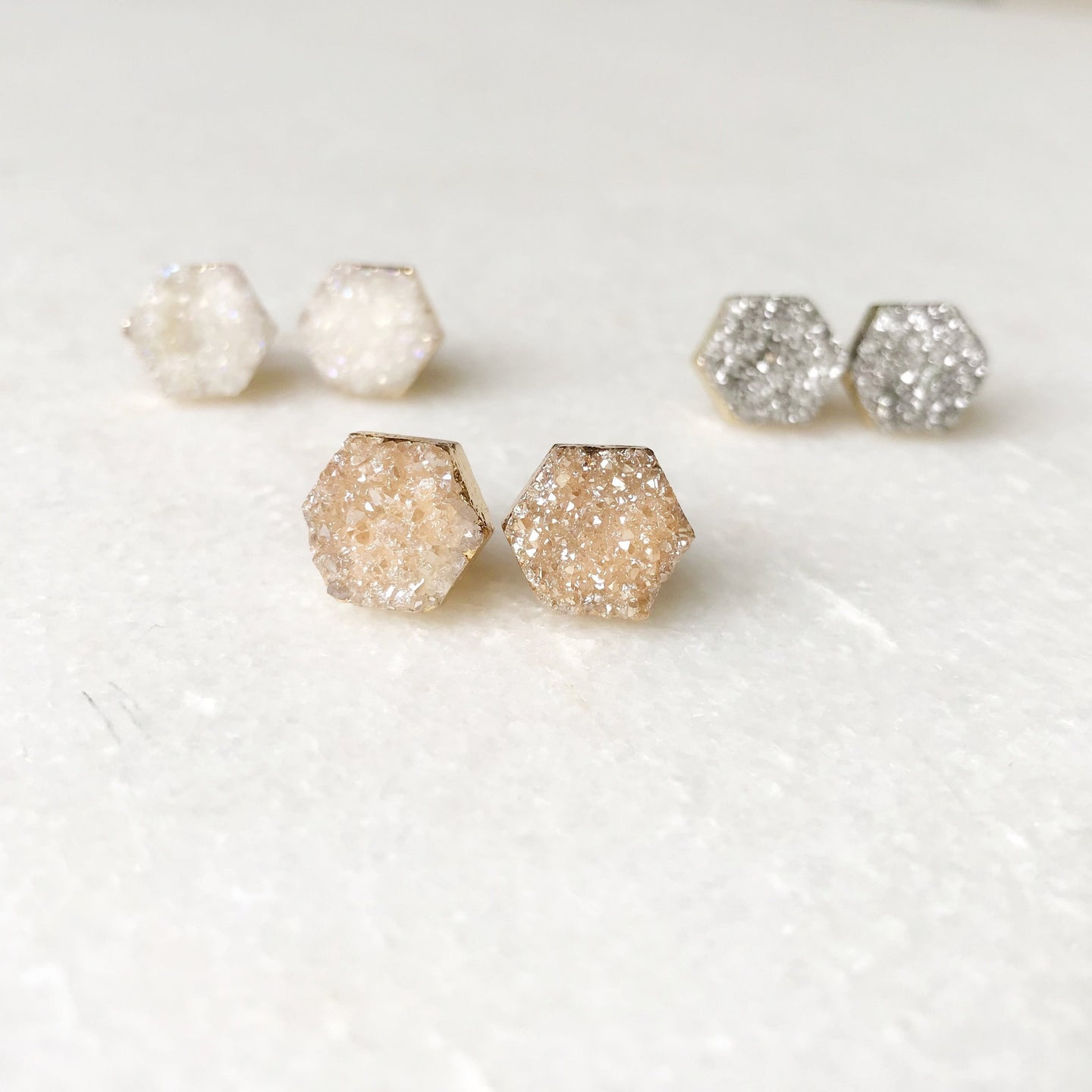 Druzy Hexagon Stud Earrings - Wondermint Goods