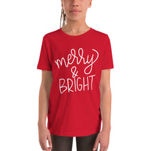 Load image into Gallery viewer, Merry and Bright - Red Short Sleeve Kids Tee