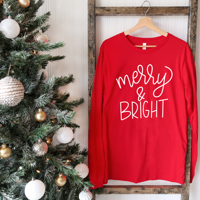 Merry and Bright - Red Unisex Long Sleeve Tee