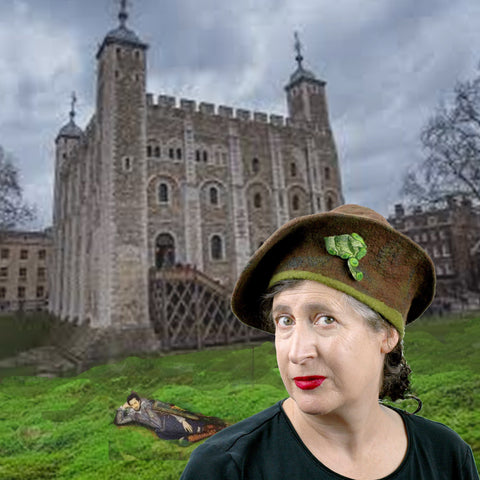 Digital Collage of a woman wearing a Tudor inspired hat, set in front of the Tower of London.