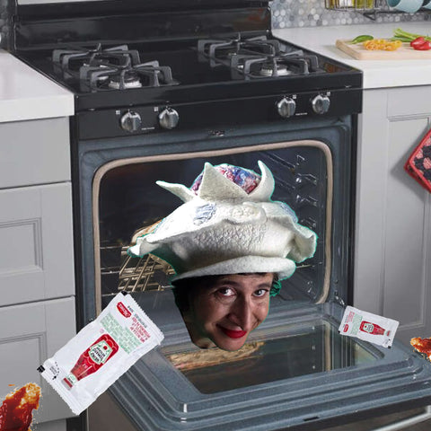 Surreal Collage of Brain Hat popping out of Oven with two packages of Heinz Ketchup.