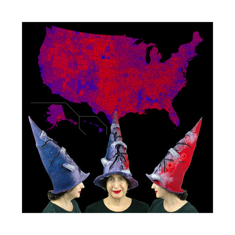 The Violet Protest Hat in Red, Blue and Purple seen against a map of the USA.