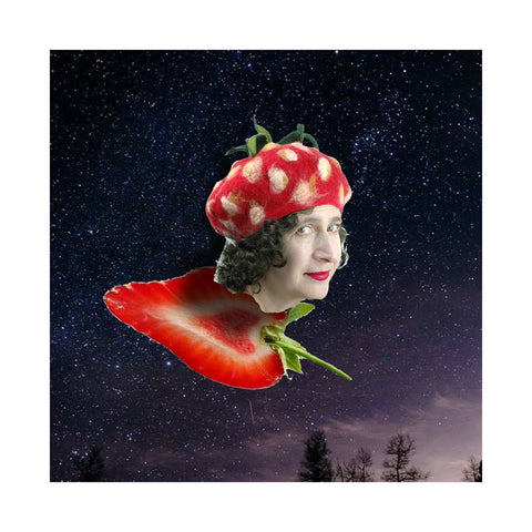 Strawberry Beret head flying on a strawberry shaped broom - surreal collage.