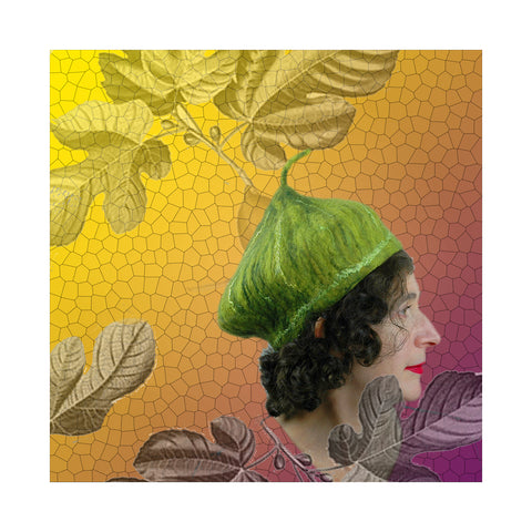 Green Fig Hat against a golden background with stylized fig leaves.