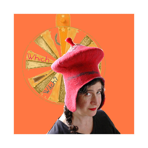 Tall red hat with earflaps collaged against orange background with roulette wheel saying 'Which Witch'.