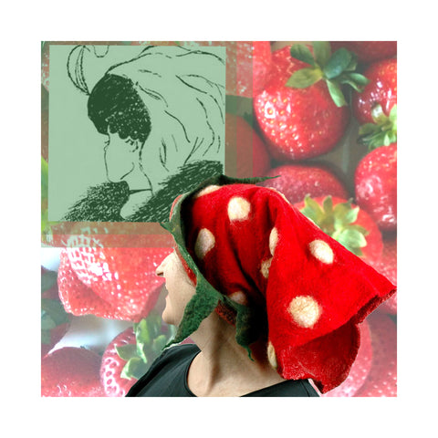 Strawberry Cowl worn on head against a strawberry inspired collage.