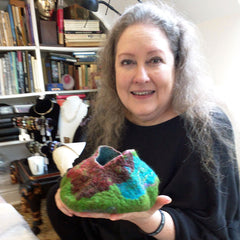 MakerDate student, Carla with her partially felted vessel.