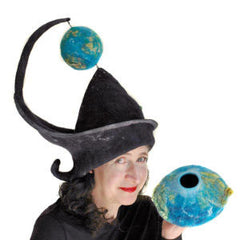Felted Earth Day Headdress with Spinning Globe and Felted Earth Vessel