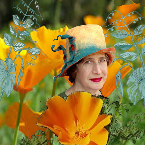 Amidst the poppies and pea vines - yellow fedora.