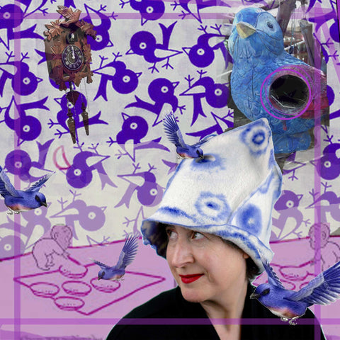 Architectural White Hat with Purple Drawing with Harold and the Purple Crayon and flying Birds of Happiness