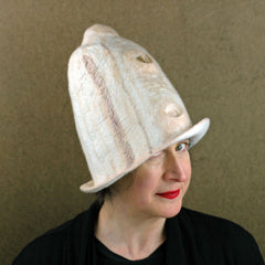 Big Hat in Ivory and Sepia Brown with stripes.