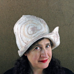 Part of my Big Hat Collection, an ivory hand felted hat, with hand painted brown doodles.