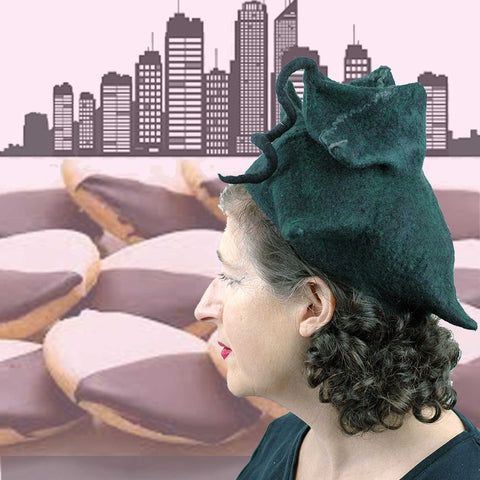 Another collage of the Black Pagoda Hat with Black and White cookies and the Manhattan Skyline.