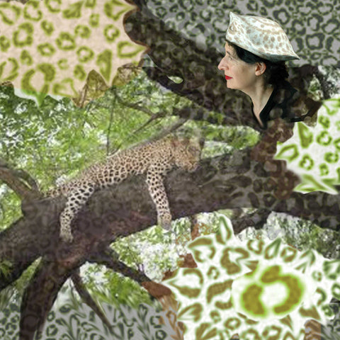 Beret in Ivory with Handpainted Brown Spots collaged with a leopard.