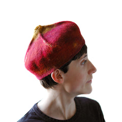 Side View of a Claret Red, Felted Hat in the shape of a Biretta. Size MEDIUM.