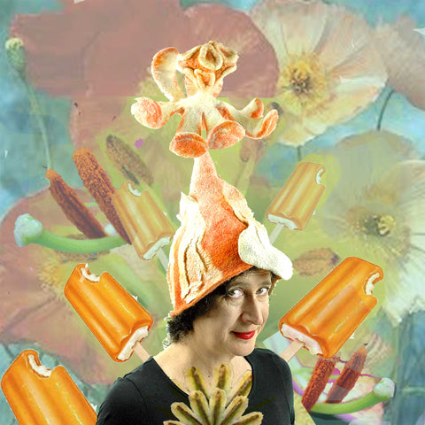 Vegas Creamsicle Hat with a collage of lilly stamens.
