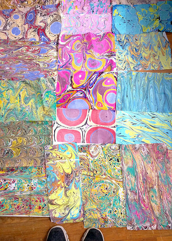 Samples of my Marbled Fabric - very colorful and fun!