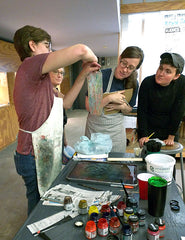 Fabric Marbling Class with Melissa DeLisio at COntempory Craft, Pittsburgh