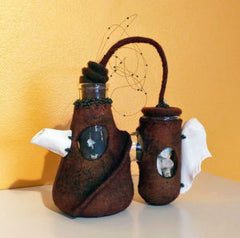 Pam MacGregor's mixed media felted teapots