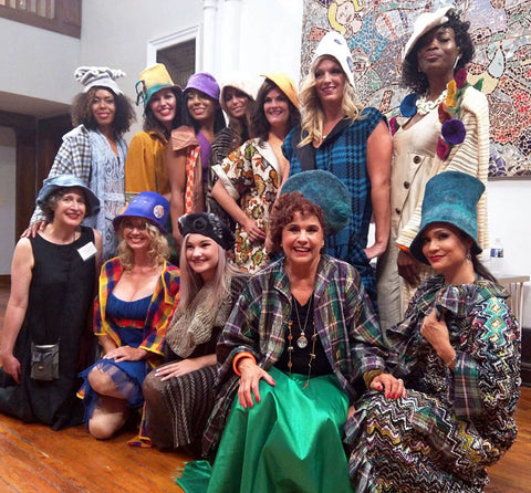 A group photos behind the scenes at Style Week Pittsburgh's fashion show - includes clothing designer, Lana Neumeyer and felted hat maker, Juliane Gorman of FeltHappiness.
