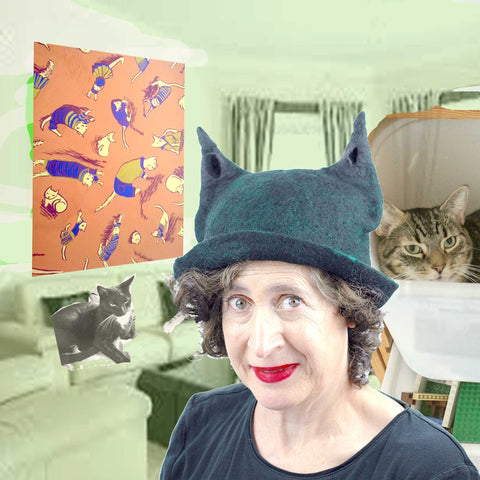 Cat Hat Collage with Kiwi and Pickes (my cats)..