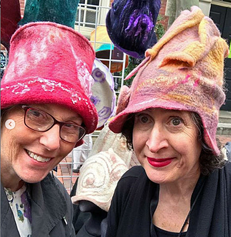 Lindy and I at RISDCraft - both modeling FeltHappiness Hats.